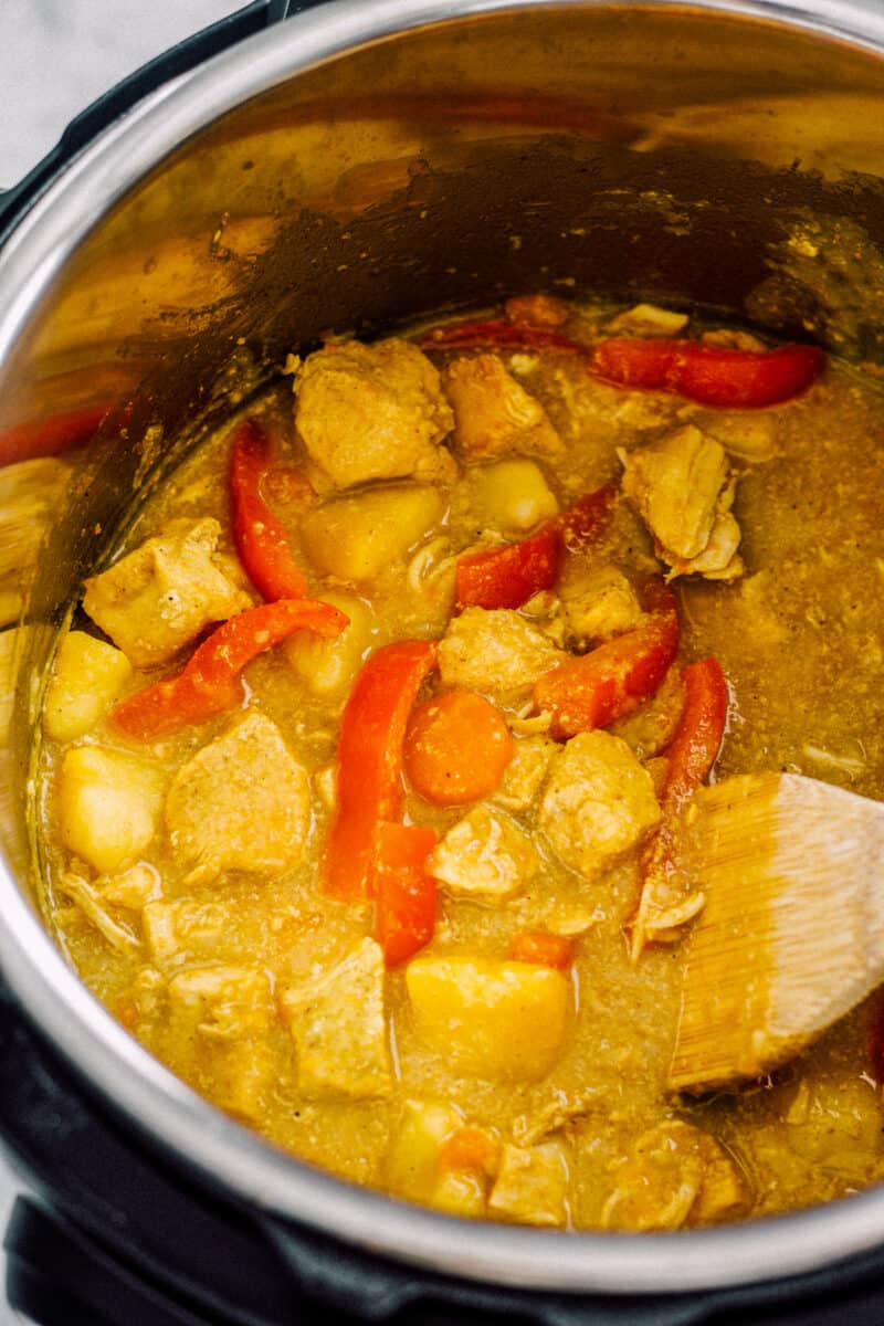 instant pot chicken curry in the pot after being cooked