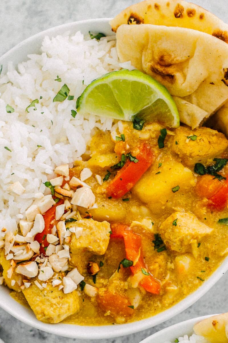 instant pot chicken curry with white rice