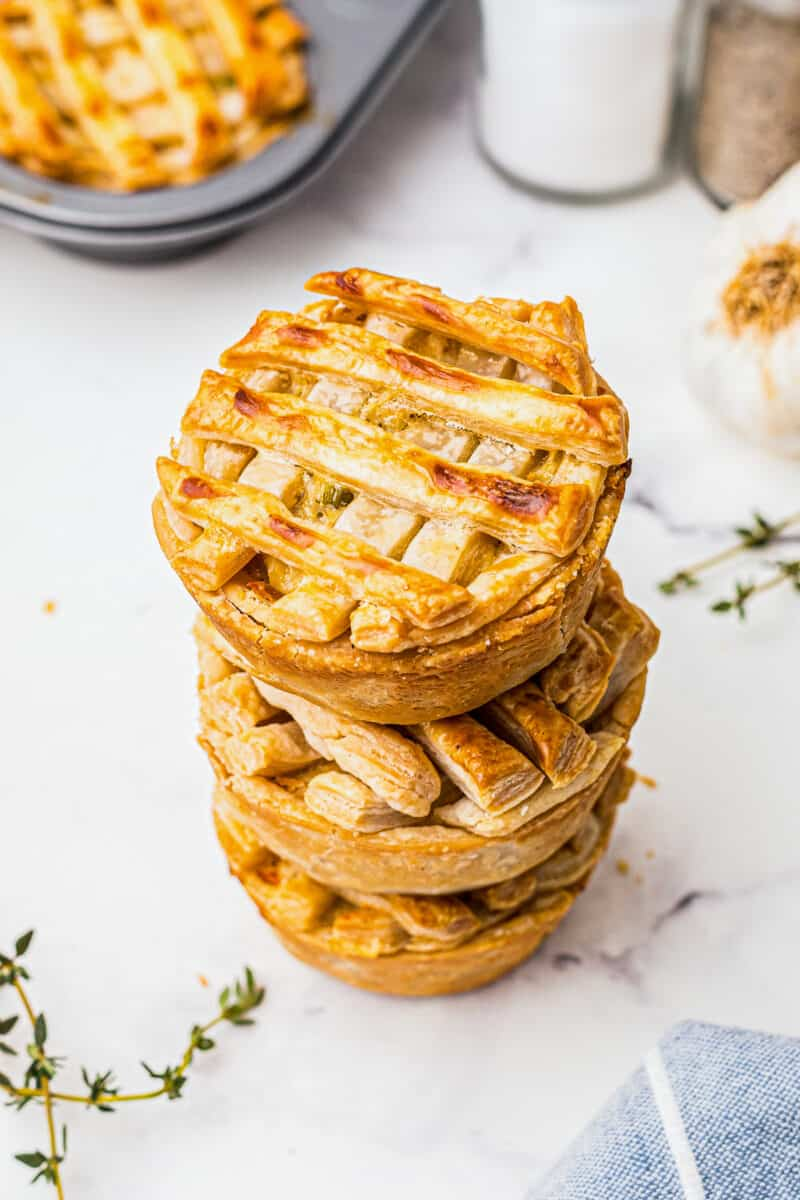 3 stacked mini chicken pot pies