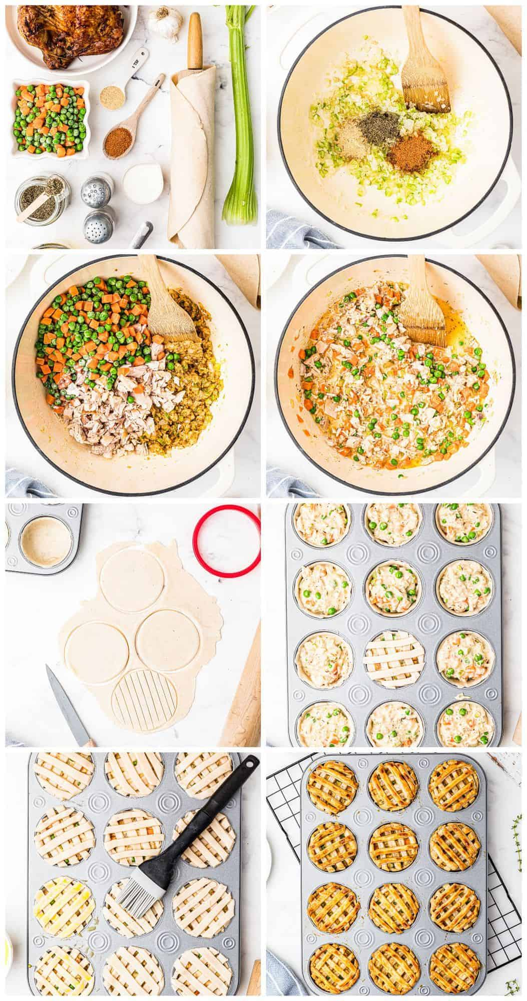 step by step photos for how to make mini chicken pot pies