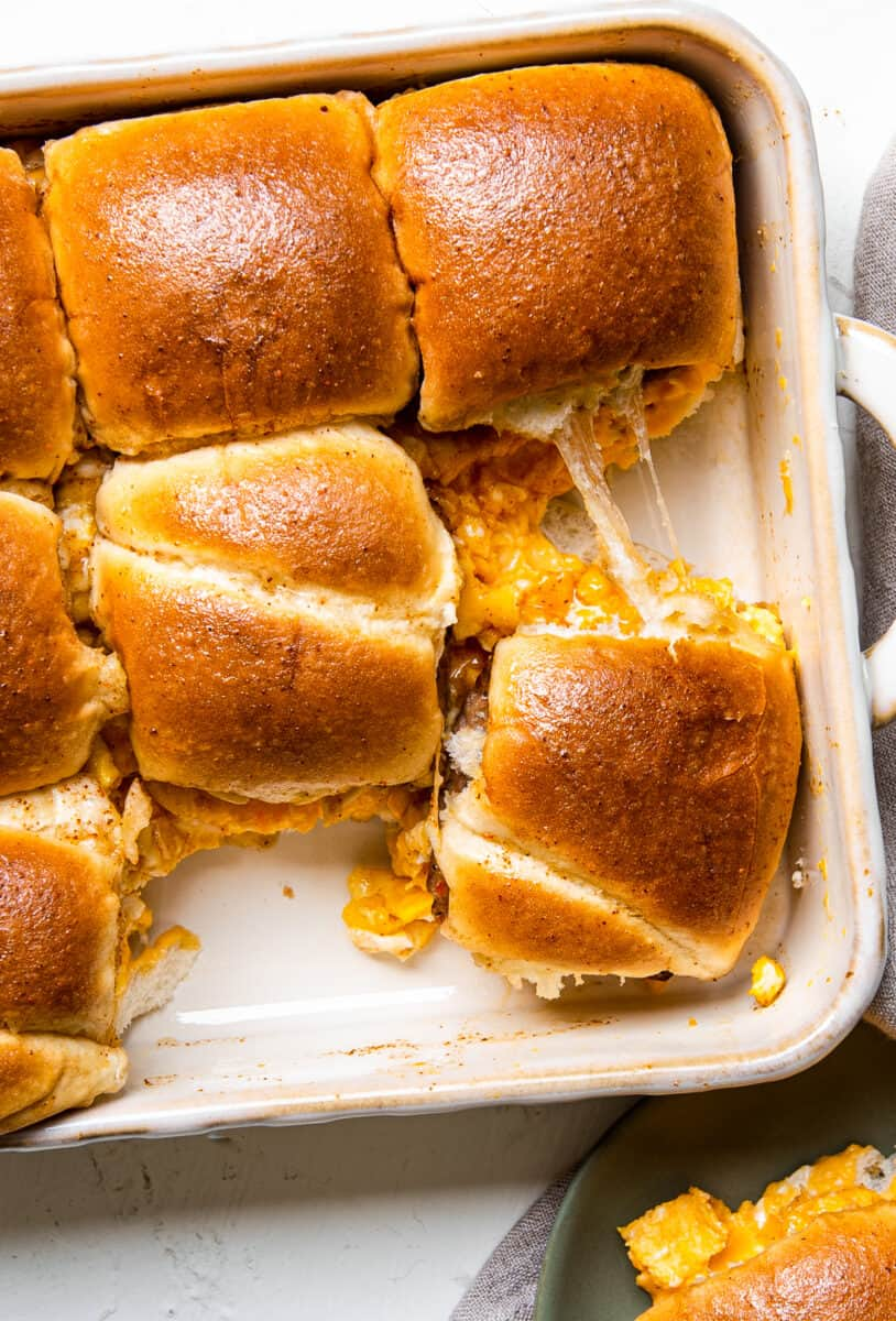 baking dish with pull apart breakfast sliders