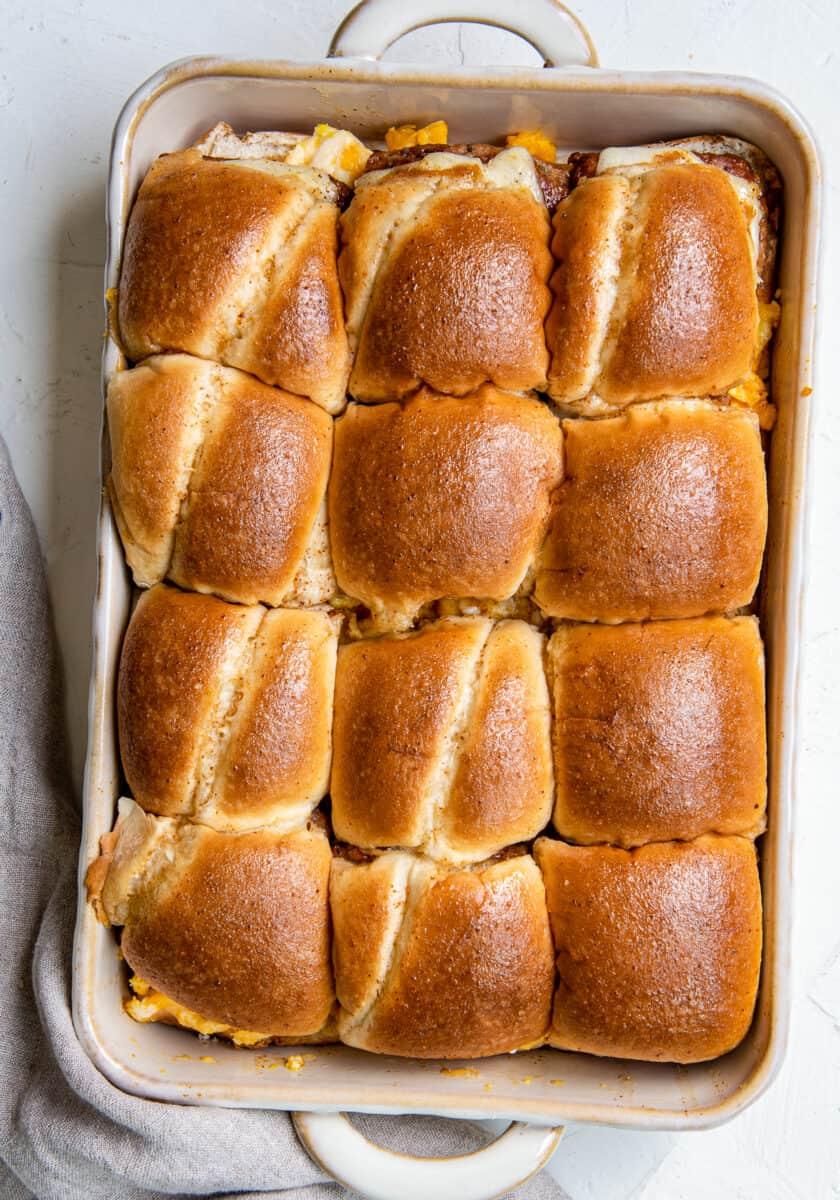pull apart breakfast sandwiches in baking dish