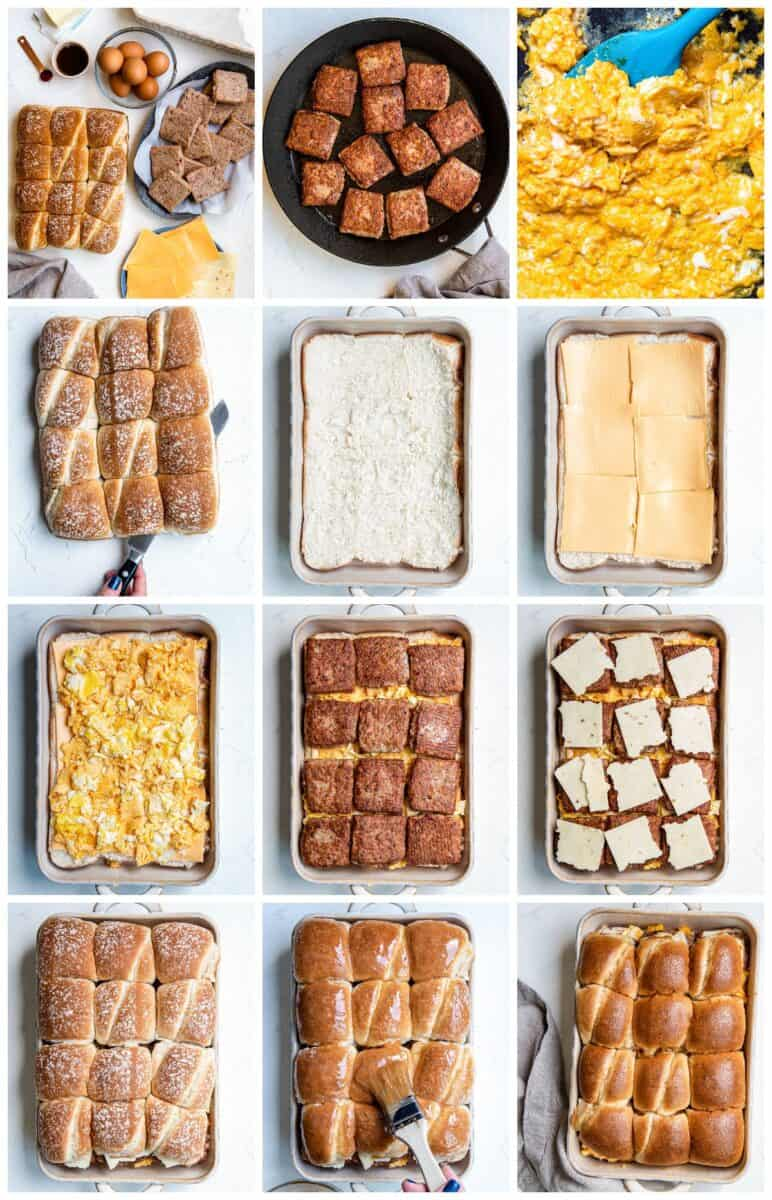 step by step photos for how to make pull apart breakfast sliders