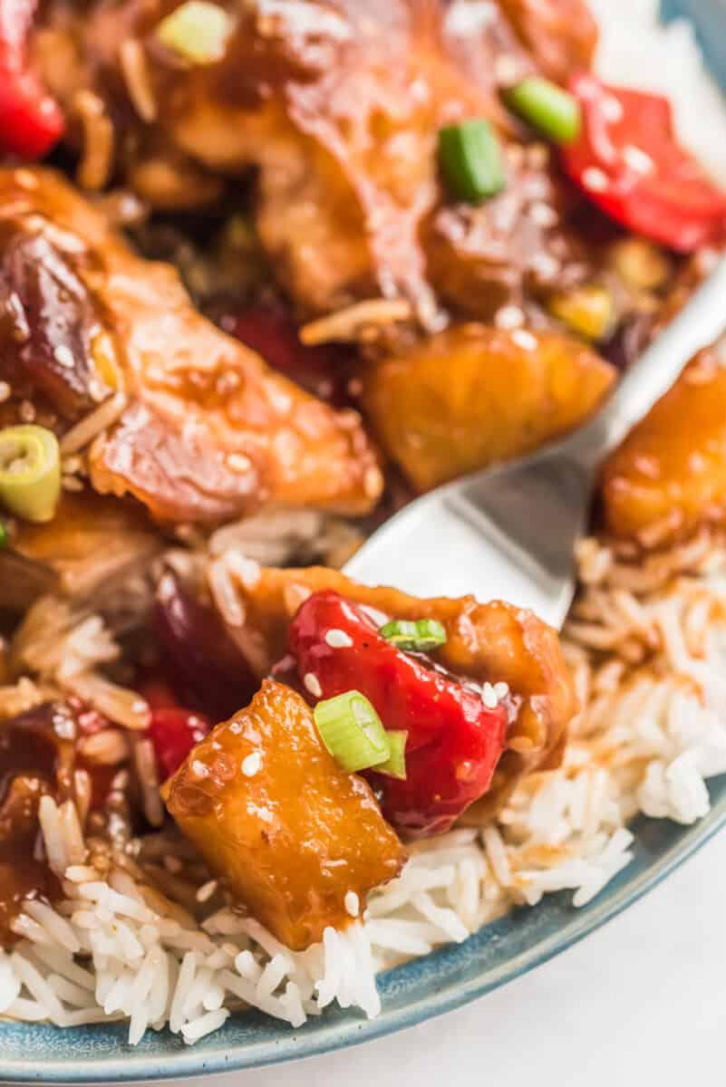 fork into hawaiian chicken over rice