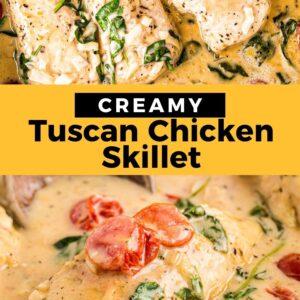 tuscan chicken pinterest collage