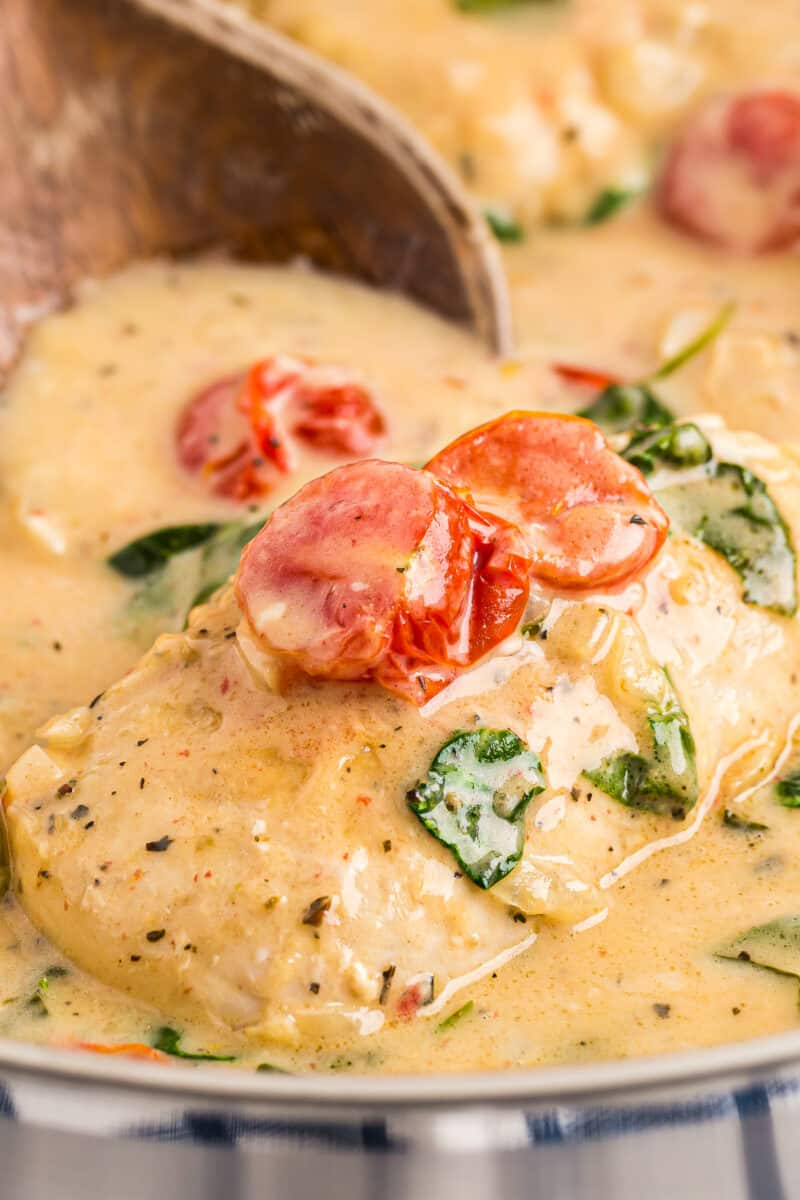 up close tuscan chicken with cream sauce in skillet with tomatoes and spinach