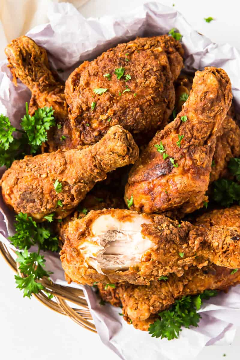 bite out of fried chicken