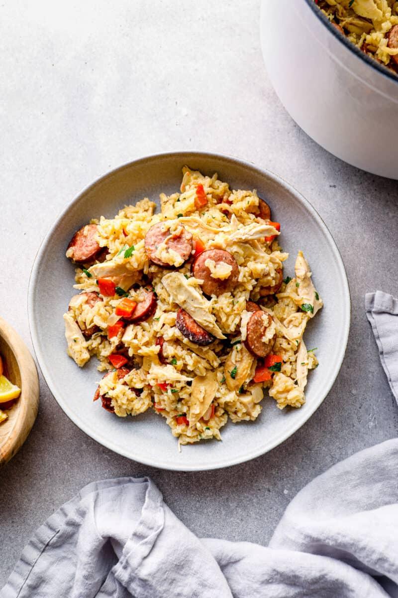 chicken bog with kielbasa in bowl