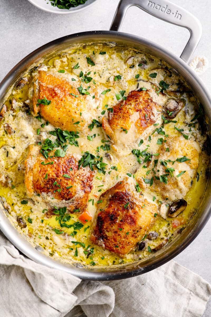 chicken fricassee in skillet