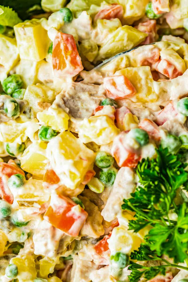up close chicken potato salad in bowl