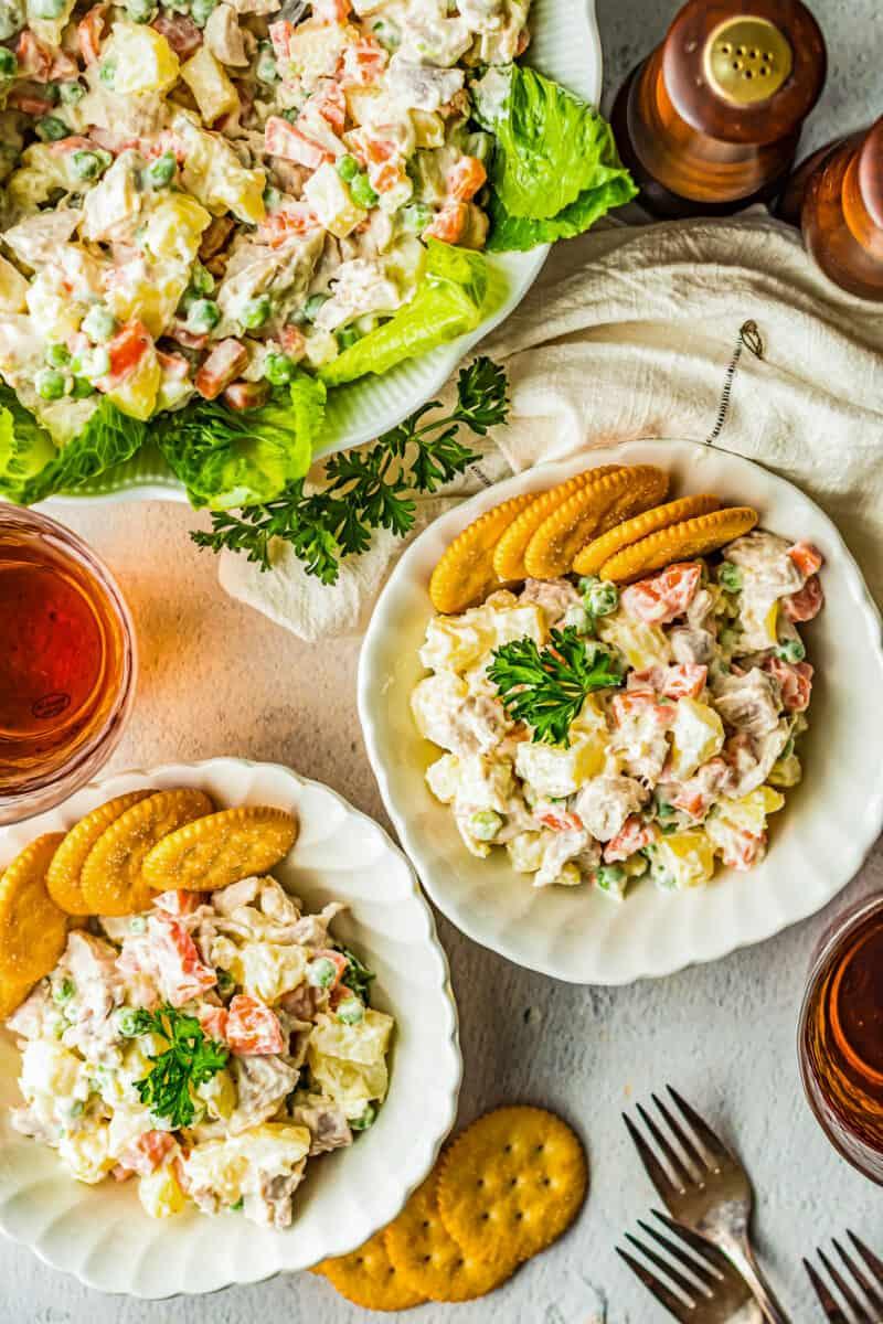 bowls of chicken potato salad