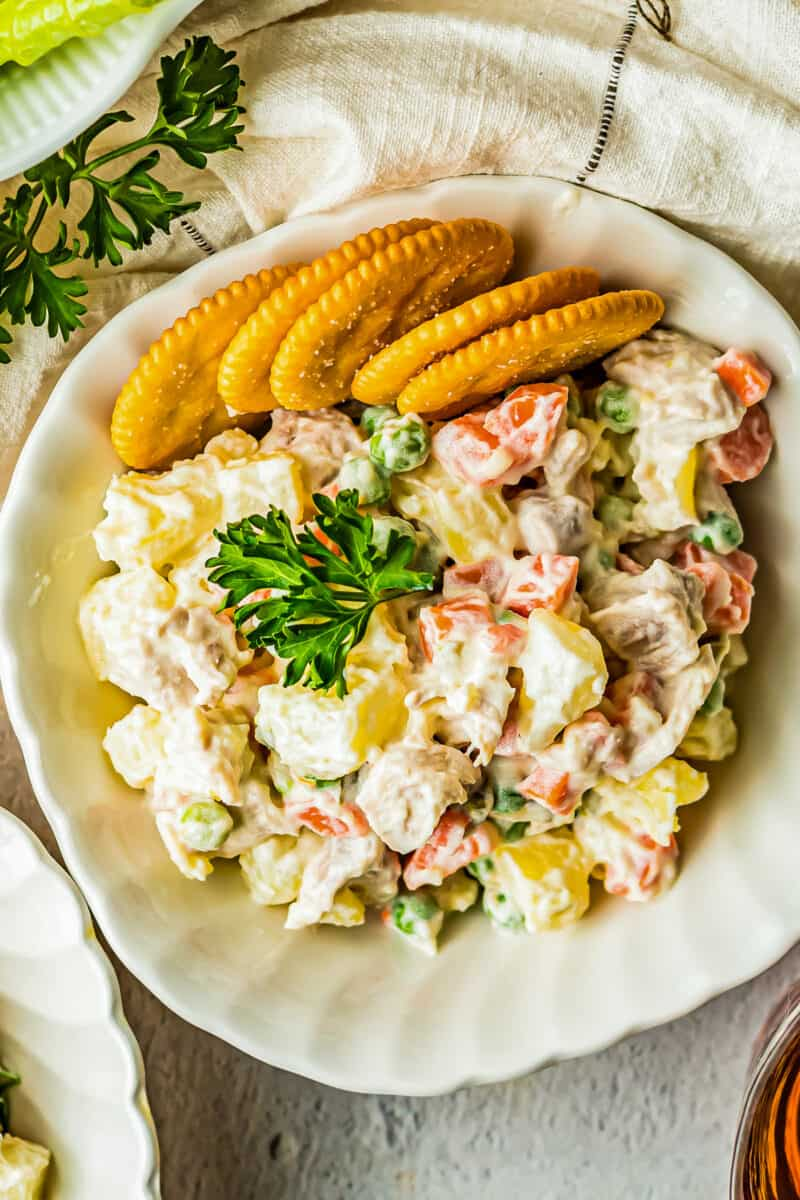 chicken potato salad with crackers