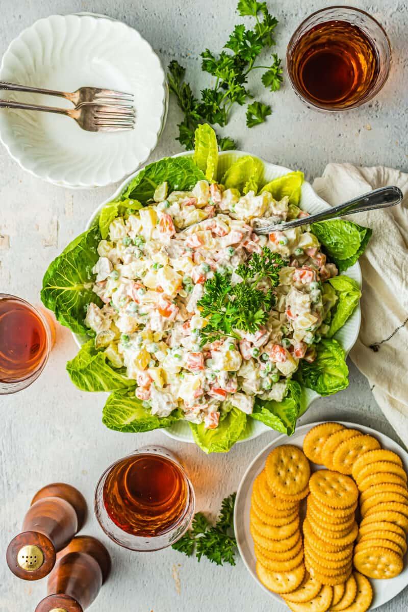 chicken potato salad in bowl
