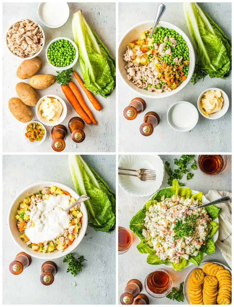 step by step photos for how to make chicken potato salad
