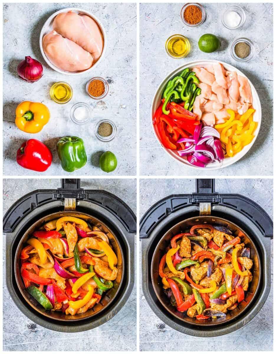 step by step photos for how to make air fryer chicken fajitas