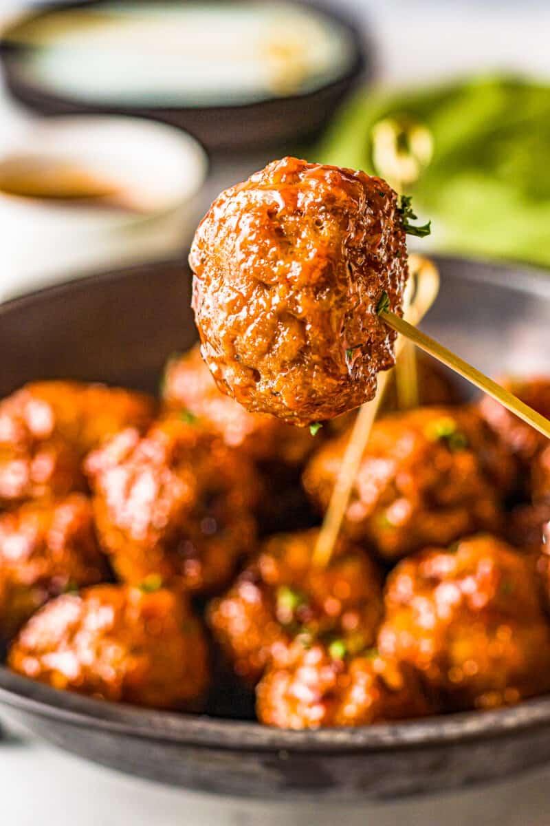 lifting up firecracker chicken meatball