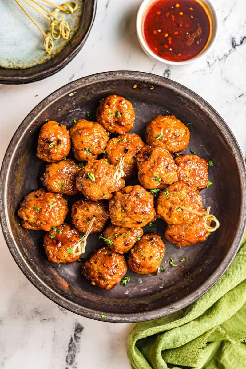 plate with firecracker chicken meatballs