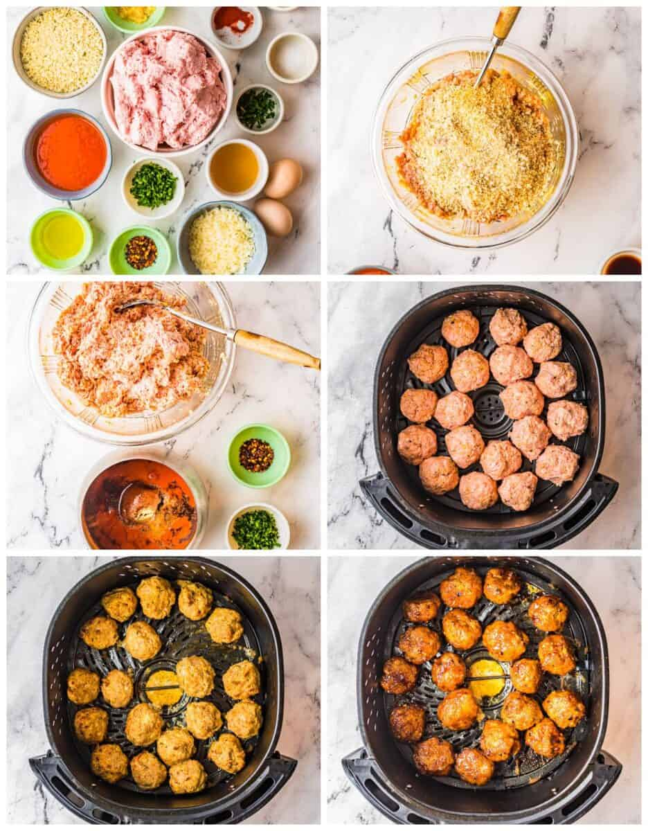 step by step photos for how to make air fryer firecracker chicken meatballs
