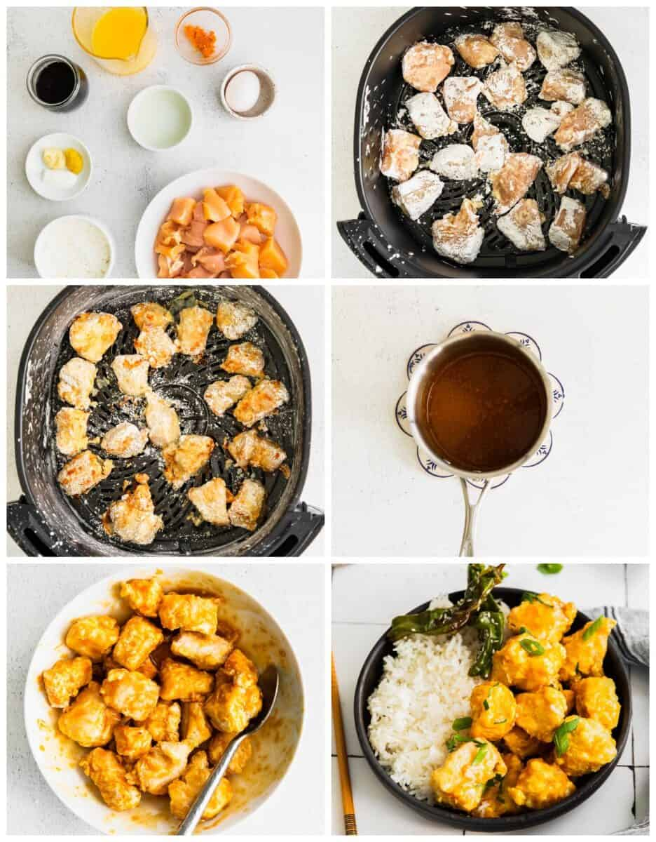 step by step photos for how to make air fryer orange chicken