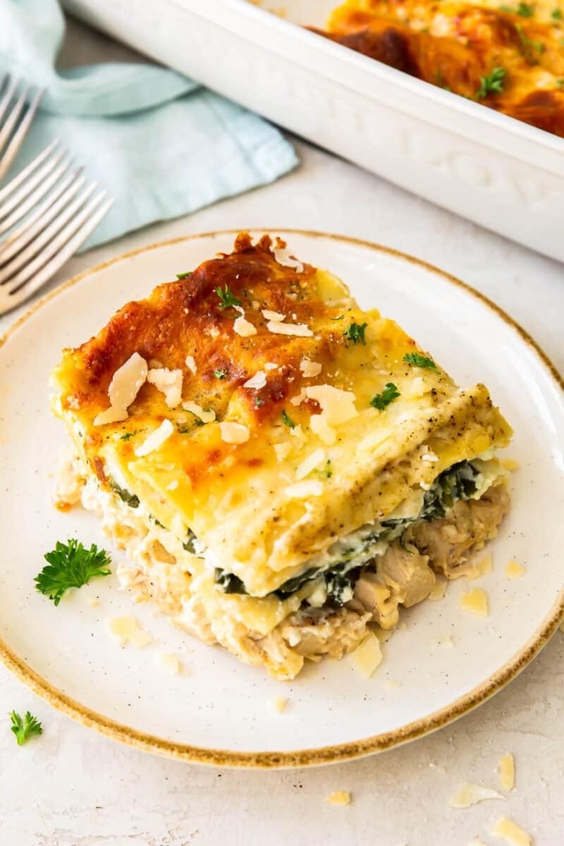 slice of chicken alfredo lasagna on white plate