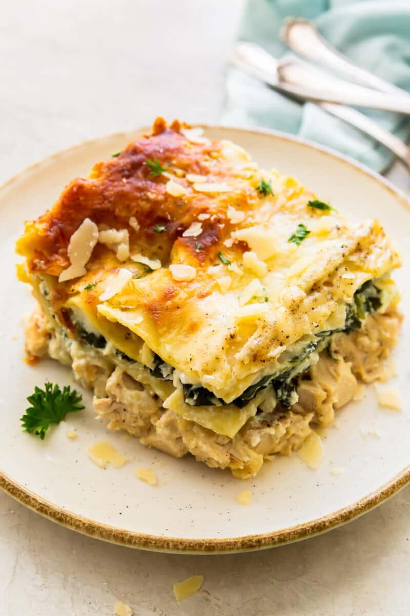 up close slice of chicken alfredo lasagna on white plate