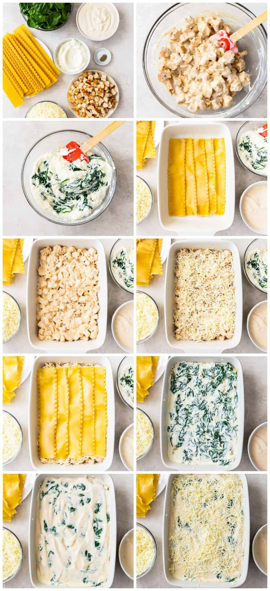 step by step photos for how to make chicken alfredo lasagna