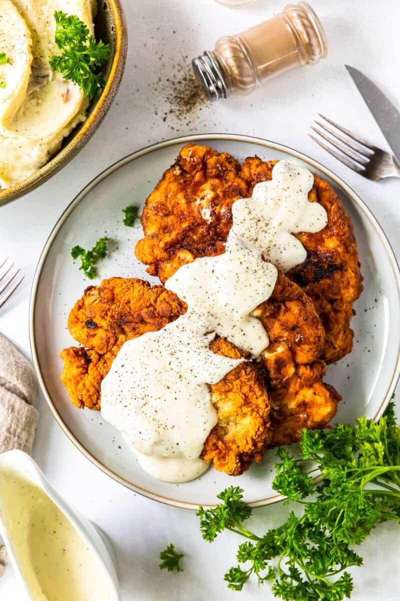 overhead platter with chicken fried chicken and gravy