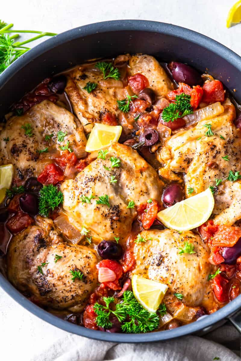 chicken provencal in skillet