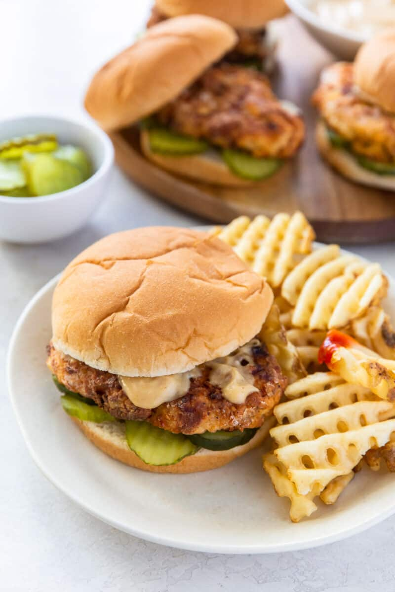 copycat chick fil a sandwiches with sauce and fries