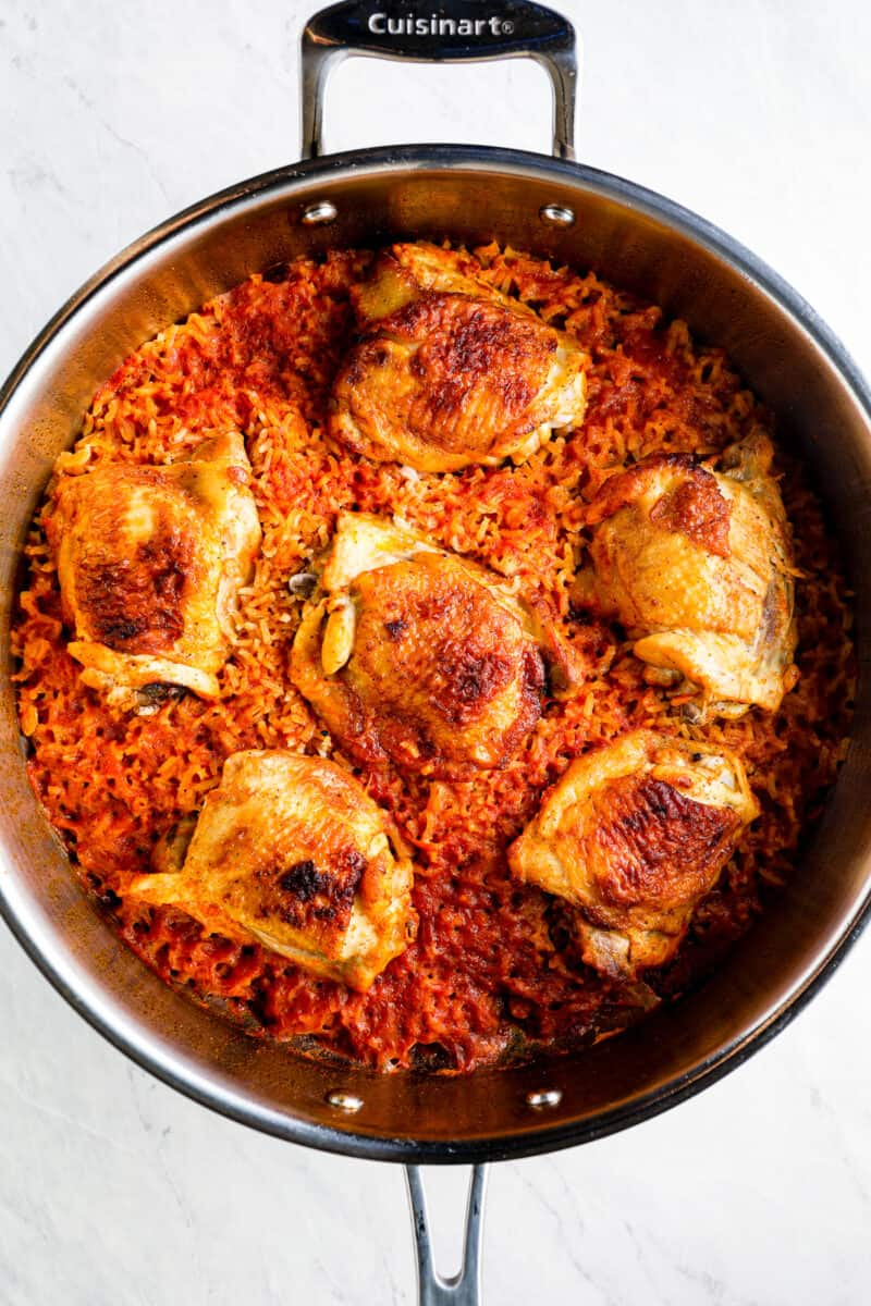 making Spanish chicken and rice in skillet